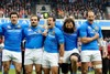 Gonzalo Canale, Martin Castrogiavanni and Sergio Parisse show their passion during the national anthem