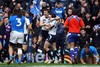 Nick de Luca celebrates with Rory Lawson after scoring Scotland's first try at Murrayfield since November 2009