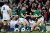 Ireland celebrate Tommy Bowe's opening score which all but sealed the end of England's Grand Slam ambitions