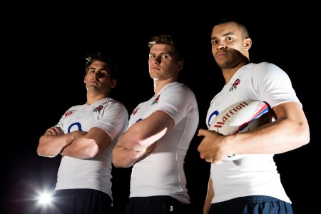 Toby Flood, Owen Farrell and Jonathan Joseph