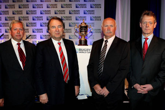 Commercial director Paul Vaughan, chief executive Francis Bacon, tournament director Terry Burwell and finance director Nick Eastwood stand with the Webb Ellis Trophy