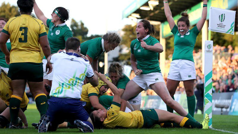 Ireland celebrate Sophie Spence's try against Australia